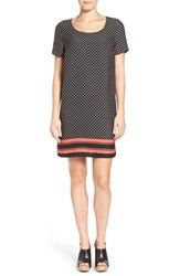 Women's Pleione Back Cutout Border Print Shift Dress Black Ivory