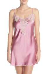 Women's Josie Natori Lace Trim Silk Chemise Lily Pink Rose Beige Lace