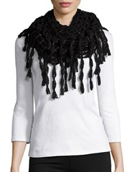 Steve Madden Metallic Infused Open Knit Fringed Infinity Scarf Black