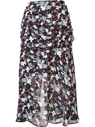 Veronica Beard Floral Print A Line Skirt Black
