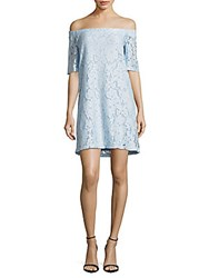 Donna Morgan Off Shoulder Lace Dress Blue Ice