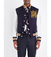 Alexander Mcqueen Embroidered Logo Wool Varsity Jacket Blue White Yellow