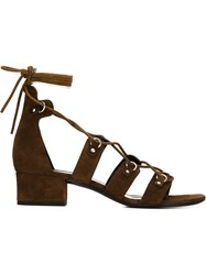 Saint Laurent Strappy Lace Up Sandals Brown