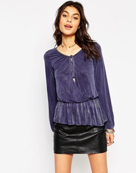 Gypsy 05 Long Sleeve Wrap Blouse With Peplum Navy