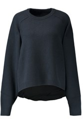 Tibi Cashmere And Silk Crepe De Chine Sweater Midnight Blue