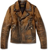 Rrl Distressed Leather Biker Jacket Brown