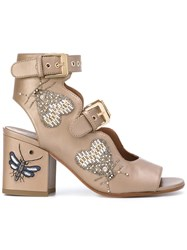 Laurence Dacade Beaded Insect Sandals Brown