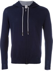 Eleventy Elbow Patch Zipped Hoodie Blue