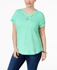 Charter Club Plus Size Cotton Embroidered T Shirt Only At Macy's Opal