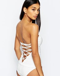 Rare London Sweetheart Plunge Bodysuit With Lace Up Back Cream