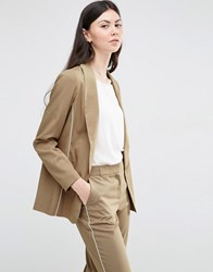 Asos Clean Blazer With Piping Detail Sand Beige