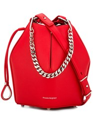 Alexander Mcqueen Bucket Chain Shoulder Bag Red
