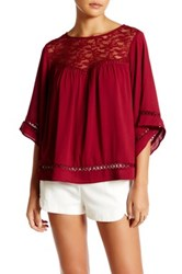 Harlowe And Graham Bell Sleeve Lace Inset Blouse Red