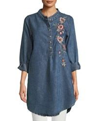 a87783bdb052f0 Tolani Madison Chambray Tunic Shirt W Floral Embroidery Plus Size Denim