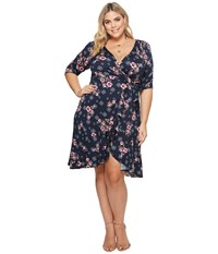 Kiyonna Flirty Flounce Wrap Dress Navy Rose Print Blue