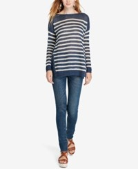Polo Ralph Lauren Striped Boat Neck Sweater Bright Navy Collection Cream