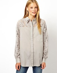 Asos Shirt With Heavy Lace Panels Grey Cream