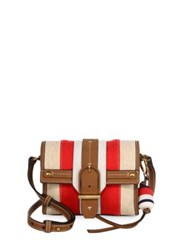 Tory Burch Canvas And Leather Crossbody Bag Natural Multi