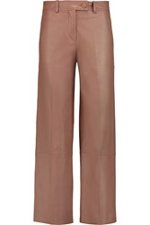 Helmut Lang Cropped Leather Wide Leg Pants Brown