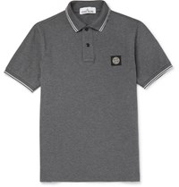 Stone Island Contrast Tipped Stretch Cotton Pique Polo Shirt Gray