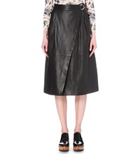 Whistles Wrap Style Leather Midi Skirt Black