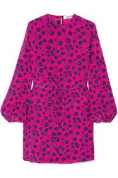Diane Von Furstenberg Cara Printed Silk Crepe De Chine Mini Dress Pink