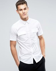 Only And Sons Skinny Short Sleeve Smart Military Shirt White