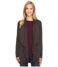 Mod O Doc Cotton Spandex French Terry Cardigan Dark Nickel Women's Sweater Metallic