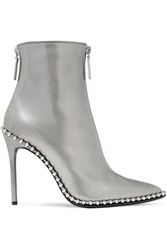 Alexander Wang Eri Studded Metallic Patent Leather Ankle Boots Silver