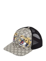 Gucci Tiger Coated Gg Canvas Baseball Hat