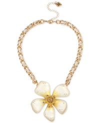 Betsey Johnson Two Tone Large Glitter Flower Statement Necklace Gold