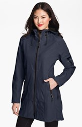 Women's Ilse Jacobsen 'Rain 7' Hooded Water Resistant Coat Navy