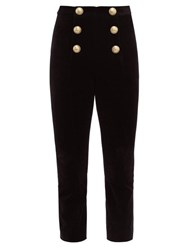 Balmain Buttoned Velvet Kick Flare Trousers Black