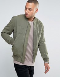 Esprit Bomber Jacket With Tonal Patch Details Olive Green