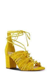 Nine West Women's Genie Lace Up Sandal Yellow Suede