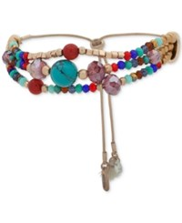 Lonna And Lilly Gold Tone Multicolor Beaded Triple Row Slider Bracelet