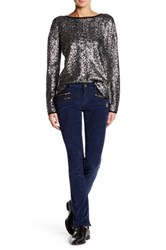 Zadig And Voltaire Faux Leather Trim Corduroy Pant Blue