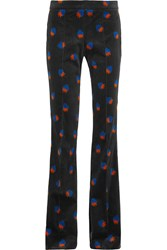 Victoria Beckham Printed Velvet Flared Pants Black