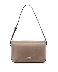 Class Roberto Cavalli Aline Metallic Leather Shoulder Bag Bronze