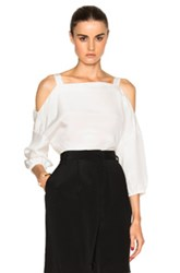 Tibi Cut Out Shoulder Top In White