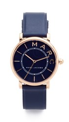 Marc Jacobs Roxy Leather Watch Rose Gold Navy Satin Navy