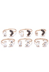 Forever 21 Faux Stone Midi Ring Set Gold Clear