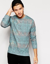 Pull And Bear Pullandbear Sweatshirt With All Over Print Green