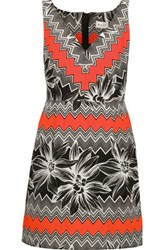 Milly Mitered Pleated Printed Cotton Blend Mini Dress Multi