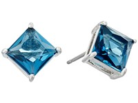 Lauren Ralph Lauren Estate Faceted Stone Stud Earrings Blue Silver Earring Navy