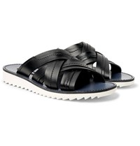 Dolce And Gabbana Woven Leather Slides Black
