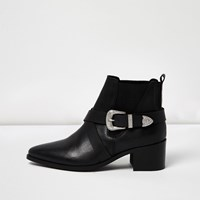 River Island Womens Black Cross Strap Western Boots