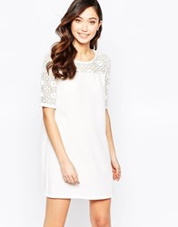 Tfnc Shift Dress With Lace Insert White