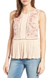 Lucky Brand Women's Embroidered Mixed Media Shell