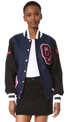 Opening Ceremony Oc Varsity Jacket Navy Black Dragonfruit White